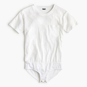 J.Crew White Pocket T-shirt Bodysuit M